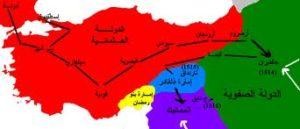 خريطة الصراع الصفوي العثماني