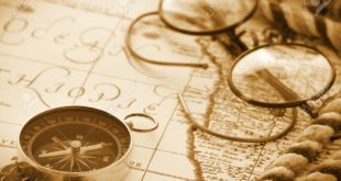 64013168-antique-compass-and-glasses-on-vintage-map-background